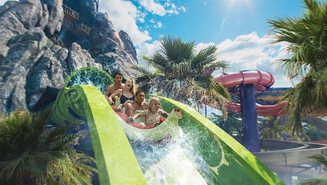 """Fotografía cedida en donde aparece la montaña rusa acuática """"Krakatau Aqua Coaster"""", que será la atracción estrella de del parque acuático Volcano Bay de la compañía Universal Orlando Resort en Orlando, Florida."""