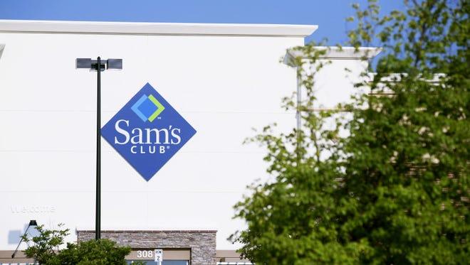 An exterior of a Sam's Club membership warehouse store.