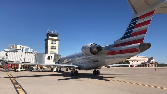 American Airlines larger plane at the terminal at San Angelo Regional Airport Friday, May 5.