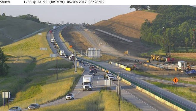 Interstate 35 is closed in both directions at Highway 92 due to a crash.