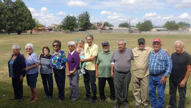 "A reunion of old friends from the neighborhood on Deming's east side got together on Sunday, October 5, 2017 to relive memories of growing up in the Bell Elementary School area affectionately known as 'The Barrio."" Most of the friends attended Bell School in the 1940's and the school mascot up until the mid-1980s was the Bell Comets. Pictured from left are: Molly Morales, Irma Galindo, Norma Sainz, Polly Villa, Mary Helen Holguin, Joe Estrada, Paul Pedraza, Callie Lopez, Pepe Guerrero, Frank Morales and Elbie Otero."