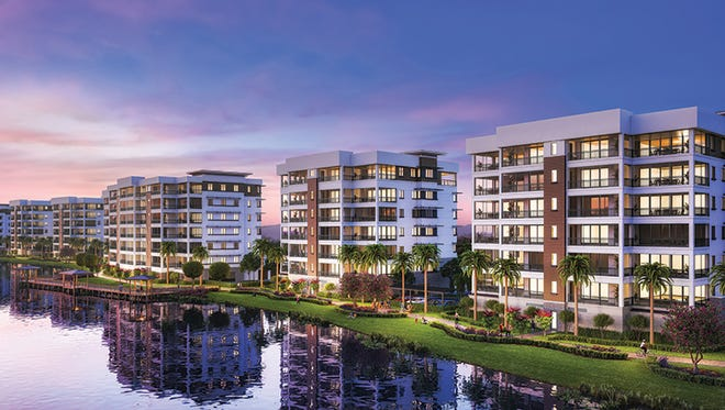 Moorings Park Grande Lake consists of luxurious mid-rise residences, including penthouses, priced starting at $1.4 million.