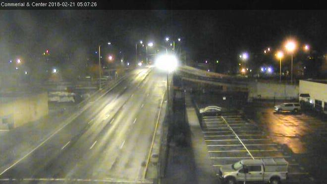 The Center Street bridge early Wednesday morning.