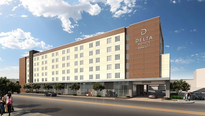 An artistic rendering of a Delta by Marriott, similar to the one proposed near the Multi-Purpose Events Center.