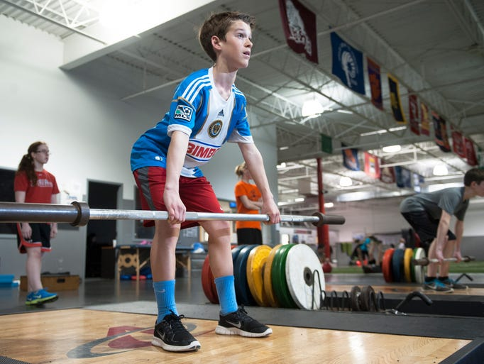 12-year-old Matthew Myers of Delran takes part in a weight training for speed program at Velocity Sports Performance in Cherry Hill.  03.19.14