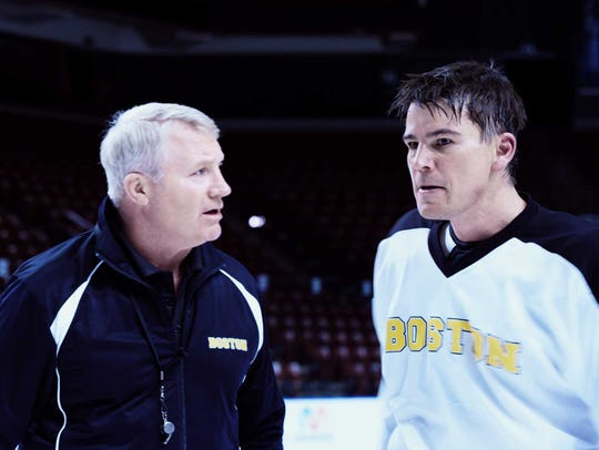 (L-R) Marty McSorely as Boston Bruins Coach and Josh