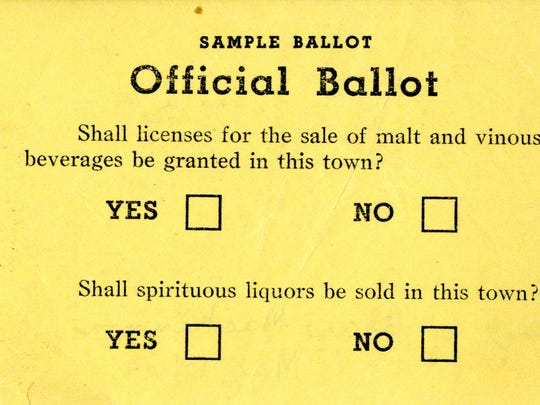Sample ballot from a local option vote, date unknown.