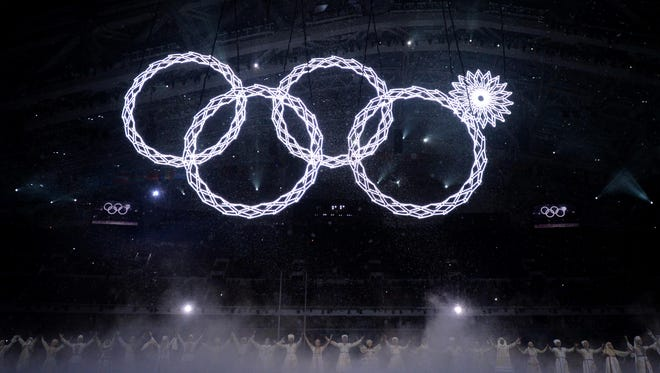 One snowflake fails to open while forming the Olympic rings during the opening ceremony for the Sochi 2014 Olympic Winter Games at Fisht Olympic Stadium.