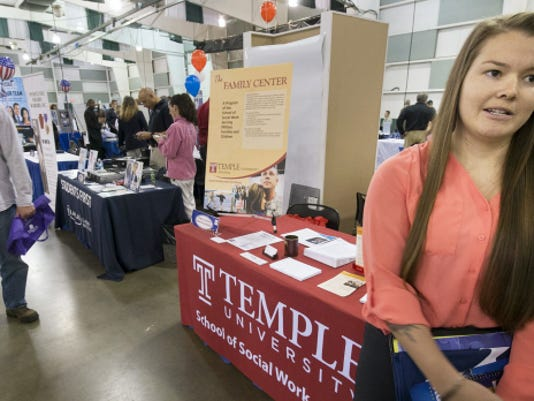 Navy veteran Hannah Hostetter, of West Manchester Township, talks about her job search during the Veterans' Expo & Job Fair. After she left the fair, Hostetter said she'd lined up two promising interviews in management roles with York and Lancaster-based companies.