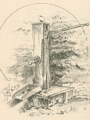 Cartoonist John T. McCutcheon made this illustration around 1890 of the Old Pump, part of Purdue University's campus from its earliest days.