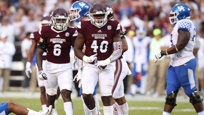 Mississippi State linebacker Erroll Thompson reacts after making a tackle.
