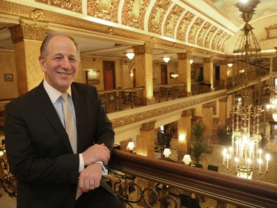 Greg Marcus, president and CEO of Marcus Corp., stands in The Pfister Hotel as it marks its 125th anniversary.