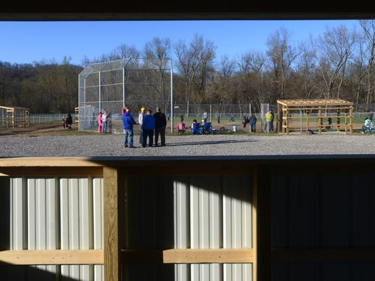 A pair of new baseball diamonds can be seen from the new concession stand at Bergin Field in Duncan Falls.