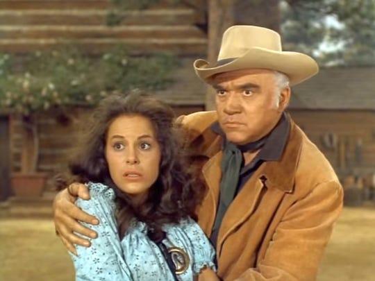 "Louise Sorel appears with Lorne Greene in the ""Bonanza""  episode ""The Strange One."""