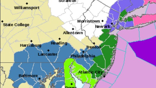The dark green shows areas where a coastal flood warning is in effect. The light green shows coastal flooding advisory areas.