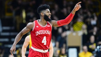 Indiana Hoosiers guard Robert Johnson (4) reacts during the second half against the Iowa Hawkeyes at Carver-Hawkeye Arena.