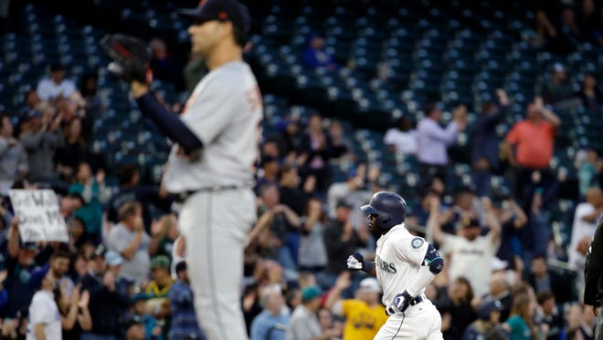 The Seattle Mariners' Guillermo Heredia rounds the bases on a homer off Detroit Tigers starting pitcher Anibal Sanchez in the fifth inning Monday night.