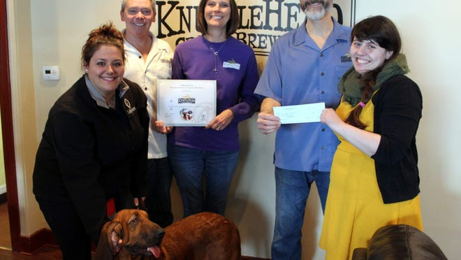 Lollypop Farm's dog trainer Brittany Dupra (with Ladybug the bloodhound), Len Dummer, Kathy Dummer, George Cline, and, Lollypop's associate director of communications Sami Sheehan (M. Rosenberry)