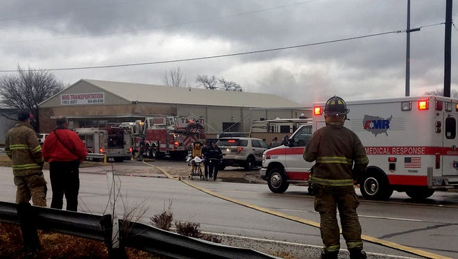 Wichita Falls fire units and first responders arrive on the scene of an explosion and fire on East Scott Avenue Tuesday afternoon.