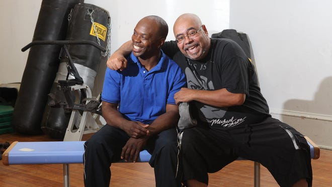 From left, Tracy Patterson, and Anthony Bongiorni at the The Floyd Patterson Boxing Club in Highland in an August 2015 file photo. Patterson, son of boxing legend Floyd Patterson and Bongiorni are long-time friends and business partners in the Floyd Patterson Boxing Gym