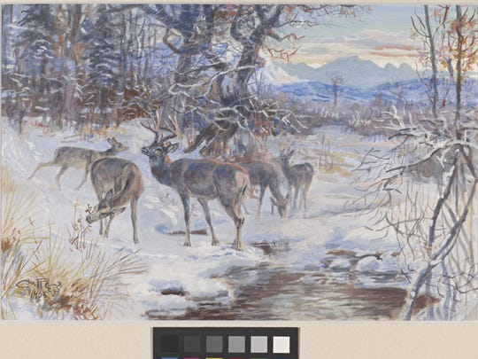 "Charles M. Russell's ""Deer at Watering Hole"" is a 1905"