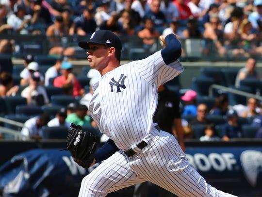 Jun 24, 2017; Bronx, NY, USA; New York Yankees pitcher