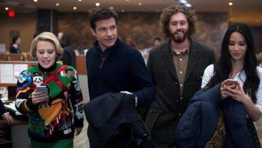 "Kate McKinnon, from left, Jason Bateman, T.J. Miller and Olivia Munn star in ""Office Christmas Party."""
