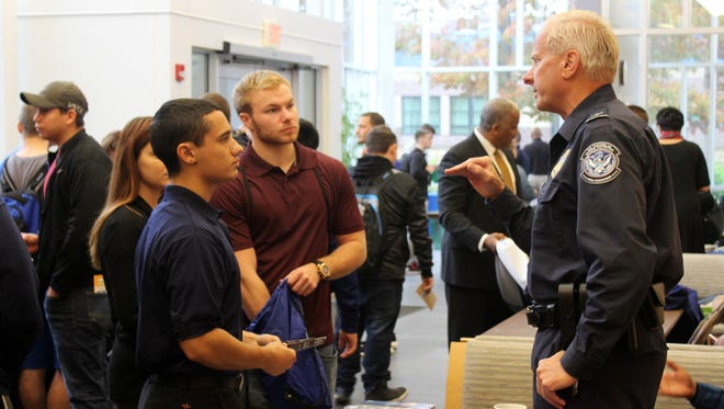 "Cumberland County College's Criminal Justice Society recently hosted ""Coffee with the Cops and Careers"" in the lobby of the college's University Center."