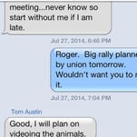 "This is screen grab of text message from former MSD Chairman James Craig shows how MSD Vice Chairman Tom Austin called MSD union workers ""animals."""
