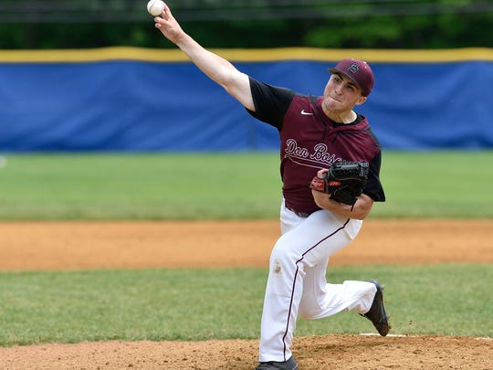 Don Bosco's Jeremy Farraye pitches in the game against Bergen Catholic at the Bergen County Baseball Tournament Finals in Demarest.