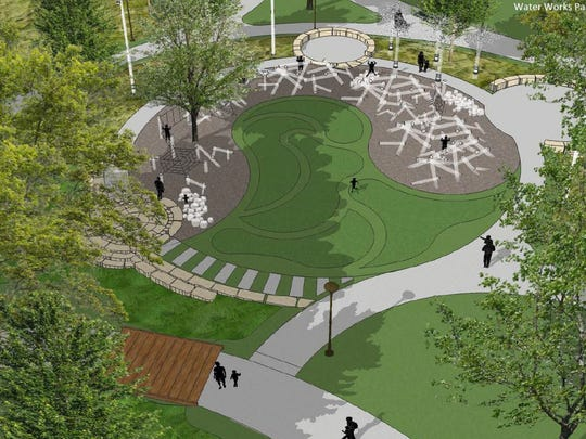 A view of one of the playgrounds, that will have natural features mimicking the park's riparian forest.