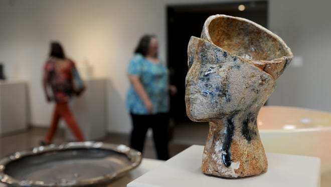 A ceramic artwork is displayed at the Empty Bowls Gallery Exhibit and Sale reception Thursday, Oct. 5, 2017, at the Wichita Falls Museum of Art at Midwestern State University. The event was a first look to see the Empty Bowls gallery pieces and to hear from juror Kelly O'Briant. The Empty Bowl lunch event will be on Oct. 10 from 11 a.m. to 1:30 p.m. at the Wichita Falls Museum of Art at MSU and the cost is $35 in advance and $40 at the door.