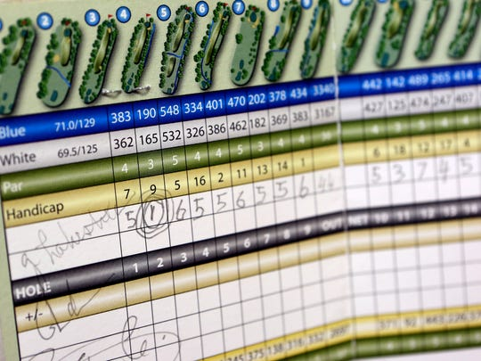 Antonio Capicotto's Maple Moor scorecard shows the hole-in-one he shot on the second hole on Oct. 26, 2017. Capicotto, who turns 87 on Nov. 20, has recorded three aces in his 20-year golfing career.