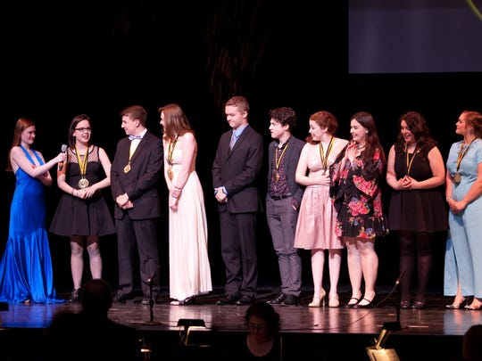 Highlands High School is honored as recipient of the Top Critic Team Award, as judged across 22 participating critic teams comprised of 133 student critics from peer participating high schools at the 14th annual Cincinnati Cappies Gala at the Aronoff Center on May 22.