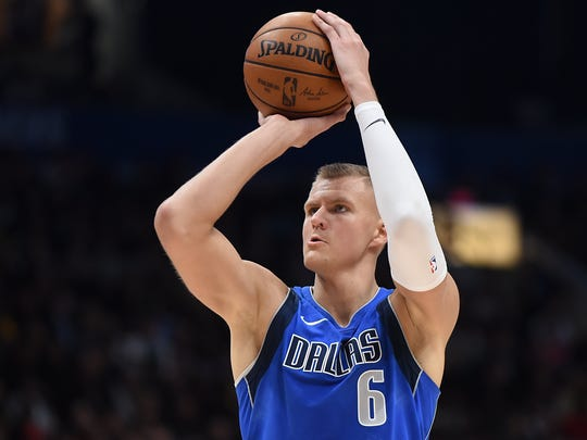 Oct 17, 2019; Vancouver, British Columbia, CAN; Dallas Mavericks forward Kristaps Porzingis (6) sets up a shot on the basket against the Los Angeles Clippers during the third quarter at Rogers Arena. Mandatory Credit: Anne-Marie Sorvin-USA TODAY Sports