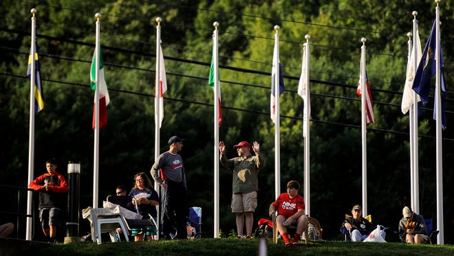 Fans line up to enter the stadium before the Little League World Series.