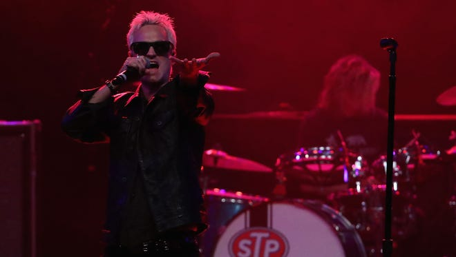 Singer Jeff Gutt performs as the lead singer of Stone Temple Pilots in Tempe, Arizona.