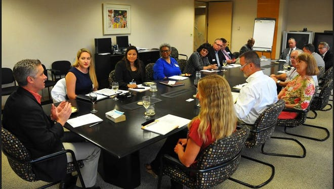FLORIDA TODAY Engagement Editor and columnist Matt Reed leads the advisory board in discussion Tuesday.