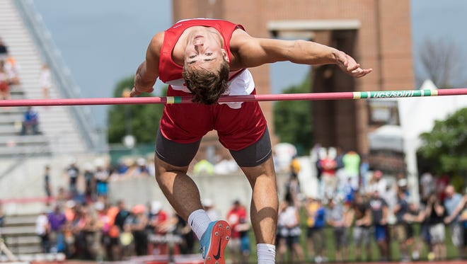 Shelby's Uriah Schwemley cleared 6 feet-6 inches to win the Division II state high jump title.