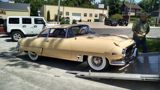 A rare Hudson Italia sport coupe arrives at the Ypsilanti Automotive Heritage Museum.