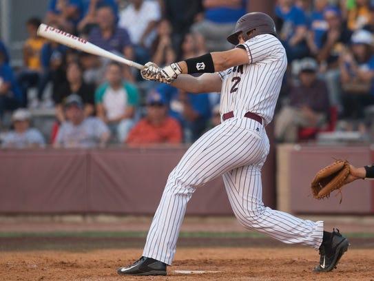 Calallen's Brandon Broughton bats during the third