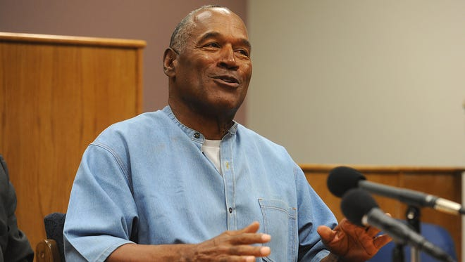 O.J. Simpson attends a parole hearing at Lovelock Correctional Center in Lovelock, Nev. Simpson will be released from prison in October.