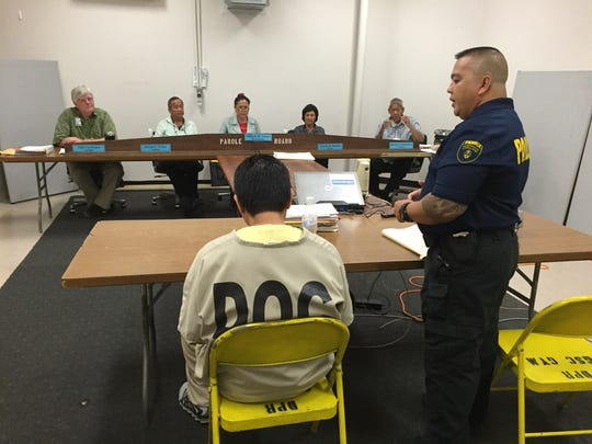 Billy Cao Cruz speaks at his parole hearing on Thursday,