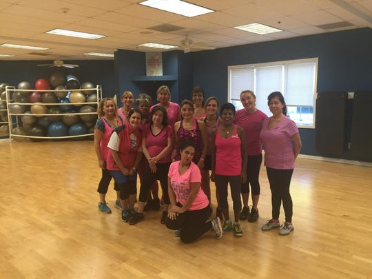"JCC group fitness participants put on their ""pink"" in support of Pink Day."