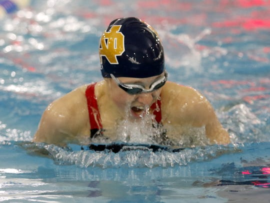 Notre Dame's Molly Craig swims to a Section 4 championship