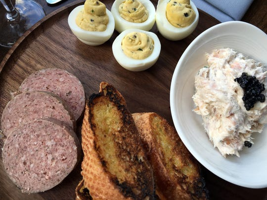 This Lazy Susan of appetizers has house-made braunschweiger,