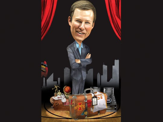 An illustration of Fred Hoiberg, the Iowa State Cyclones men's basketball coach, published when he accepted a new job to coach the NBA Chicago Bulls.