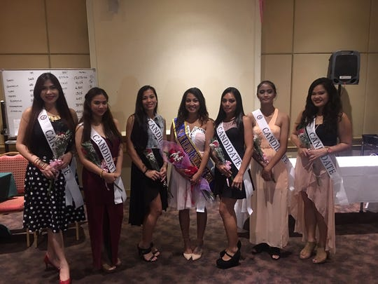 "Candidates for Binibining FCG are pictured right after the ""third counting"" of funds submitted for the contest. The official winner will be announced at a coronation on Jan.17 at the Sheraton Laguna Guam Resort"