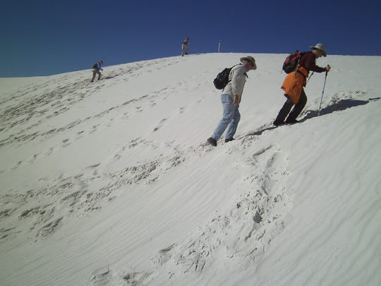 HIking up or down dunes is like walking on soft marshmallows,