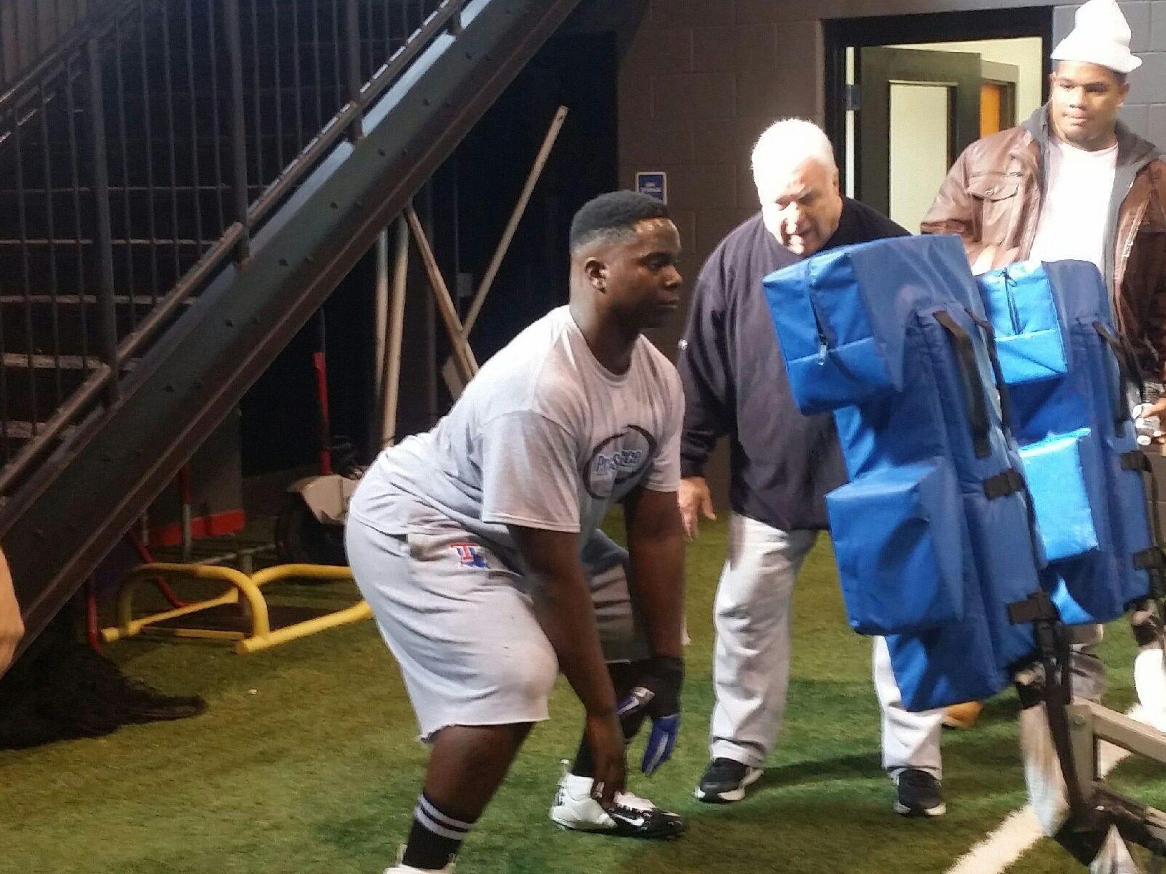 Vernon Butler goes through drills earlier this year
